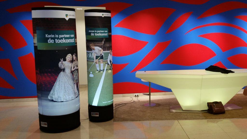 Opblaasbare zuilen, luchtdichte zuilen pilaar en banner - Publi air ABN AMRO inflatable pillar